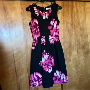 Calvin Klein Floral A-Line Midi Dress Pink Black